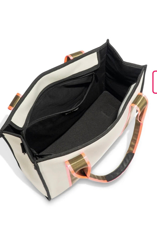 PREORDER Neoprene  Square Putty Tote with Army and Pink stripe