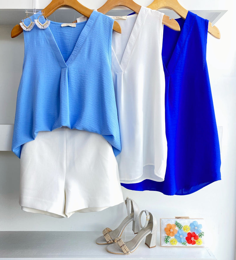 White Sleeveless V Neck Top