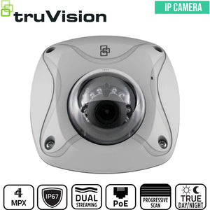TruVision Security Camera: 4MP Mini Dome with IK8 Vandal Protection