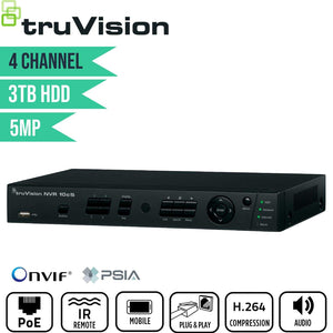 TruVision 4 Channel Network Video Recorder: 5MP FULL HD with 3TB HDD