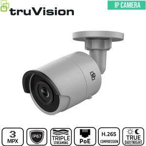 TruVision Security Camera: 3MP Bullet with IR Night Vision, IP67