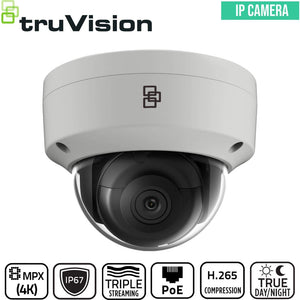 TruVision Security Camera: 4K Ultra HD Dome with IK10 Protection