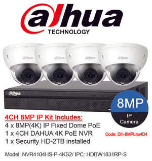 Dahua 4 Channel Security System: 8MP NVR, 4 x 8MP (4K) Dome Cameras, 2TB HDD