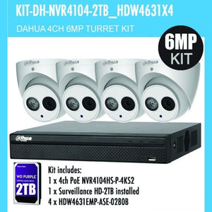 Dahua 4 Channel Security Kit: 8MP (4K Ultra HD) NVR, 4 X 6MP Turret Cameras, 2TB HDD