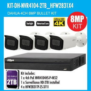 Dahua 4 Channel Security Kit: 8MP NVR, 4 X 8MP(4K Ultra HD) VF Bullet Cameras, 2TB HDD