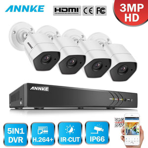Annke 8 Channel Security System: 1080P HD 5-in-1 DVR, 4 x 3MP Bullet Cameras
