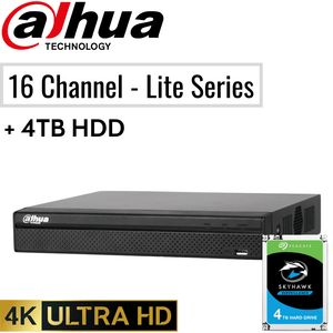 Dahua 16 Channel Network Video Recorder: 8MP (4K) Lite Series + 4TB HDD
