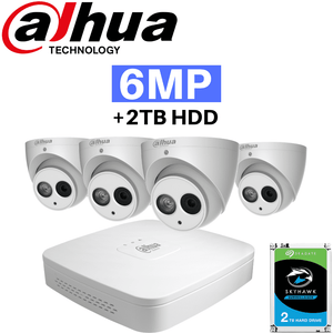 Dahua 4 Channel Security System: 8MP (4K) Smart Lite NVR, 4 x 6MP Eyeball Cameras, 2TB HDD