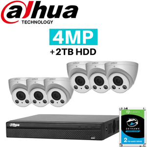 Dahua 8 Channel Security System: 12MP Pro NVR, 6 x 4MP VF Eyeball Cams, 2TB HDD