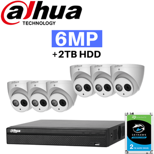 Dahua 8 Channel Security System: 12MP Pro NVR, 6 x 6MP Eyeball Cameras, 2TB HDD