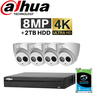 Dahua 8 Channel Security System: 8MP Lite NVR, 4 x 8MP Eyeball Cameras, 2TB HDD