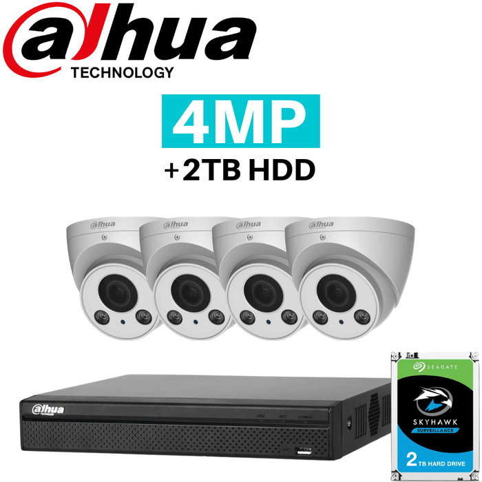 Dahua 8 Channel Security System: 8MP Lite NVR, 4 x 4MP VF Eyeball Cams, 2TB HDD