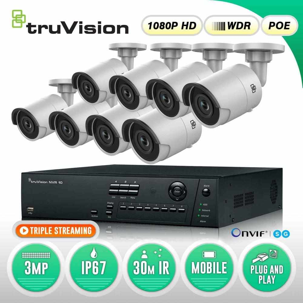 TruVision 16 Channel Security System: 1080P FULL HD NVR, 8 x
