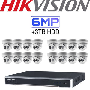 Hikvision 16 Channel Security System: 4K NVR, 16 x 6MP Turret Cameras, 3TB HDD