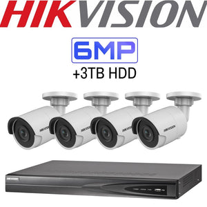 Hikvision 4 Channel Security System: 4K NVR, 4 x 6MP Bullet Cameras, 3TB HDD