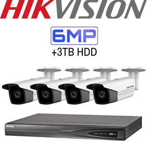 Hikvision 4 Channel Security Kit: 8MP(4K) NVR, 4 X 6MP Bullet Cameras, 3TB HDD