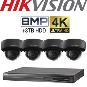 Hikvision 4 Channel Security Kit: 8MP (4K) NVR, 4 X 8MP Black Dome Cameras, 3TB HDD