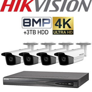 Hikvision 4 Channel Security Kit: 8MP (4K) NVR, 4 X 8MP Bullet, 3TB HDD