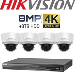 Hikvision 4 Channel Security Kit: 8MP (4K) NVR, 4 X 8MP VF Dome Cameras, 3TB HDD