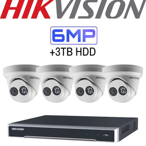 Hikvision 4 Channel Security System: 4K NVR, 4 x 6MP Turret Cameras, 3TB HDD