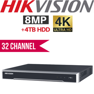 Hikvision 32 Channel Network Video Recorder: 8MP (4K) Ultra HD, 4TB HDD
