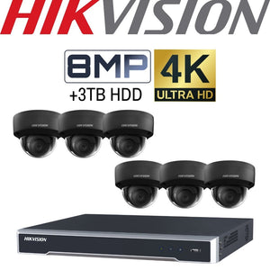 Hikvision 8 Channel Security Kit: 8MP (4K) NVR, 6 X 8MP Black Dome Cameras, 3TB HDD