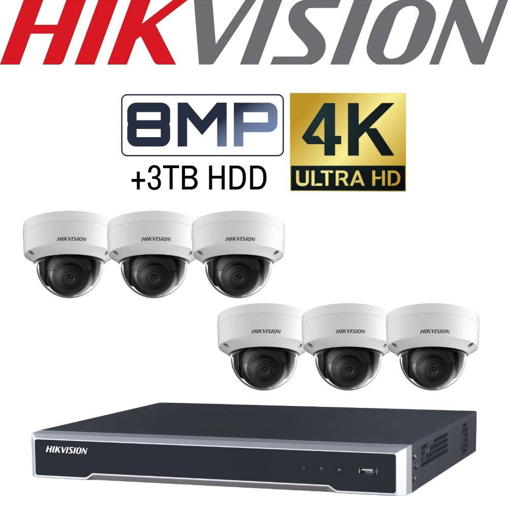 Hikvision 8 Channel Security Kit: 8MP (4K) NVR, 6 X 8MP Dome Cameras, 3TB HDD