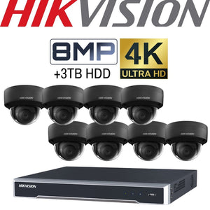 Hikvision 8 Channel Security Kit: 8MP (4K) NVR, 8 X 8MP Black Dome Cameras, 3TB HDD