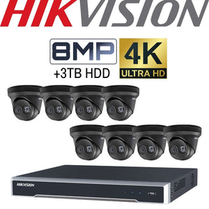 Hikvision 8 Channel Security System: 4K NVR, 8 x 8MP(4K) Black Turret Cameras, 3TB HDD