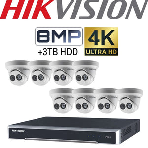Hikvision 8 Channel Security System: 4K NVR, 8 x 8MP(4K) Turret Cameras, 3TB HDD