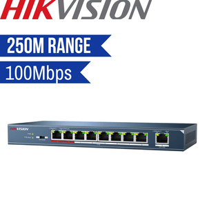 Hikvision Unmanaged Switch: 8 POE Ports, 100Mbps