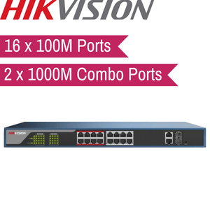 Hikvision Web-Managed PoE Switch: 16x100M, 2x1000M Combo Port