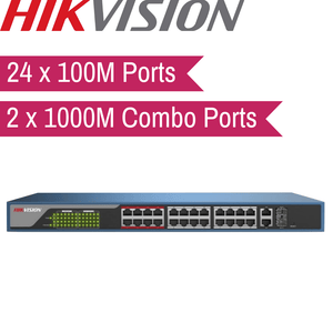 Hikvision Web-Managed PoE Switch: 24x100M, 2x1000M Combo Port