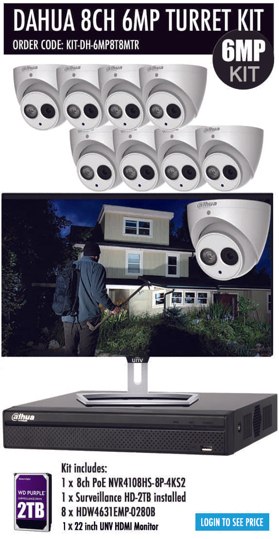 Dahua 8 Channel Security Kit: 8MP(4K) NVR, 8 X 6MP Turret Cameras, 2TB HDD + Monitor