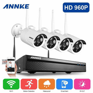 Annke 4 Channel Security System: 960P HD Wireless NVR, 4 Wireless Bullet Cameras