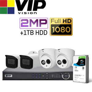 VIP Vision Pro 4 Channel Security Kit: 8MP NVR, 2 X 2MP Bullet, 2 X 2MP Dome, 1TB HDD