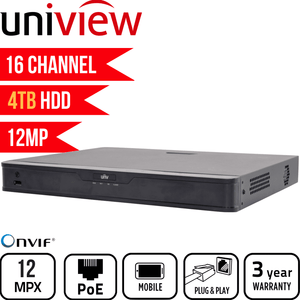 Uniview 16 Channel Network Video Recorder: 12MP Ultra HD with 4TB HDD