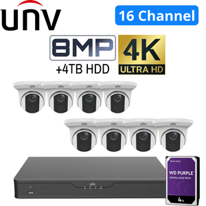 Uniview 16 Channel Security System: 12MP NVR, 8 x 8MP(4K) Turret Cameras, 4TB HDD