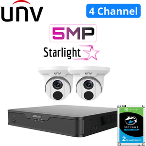 Uniview 4 Channel Security System: 4K NVR, 2 x 5MP Starlight Turret Cameras, 2TB HDD