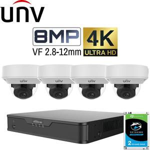 Uniview 4 Channel Security System: 4K NVR, 4 x 8MP Motorised Varifocal Dome 2.8~12mm, 2TB HDD