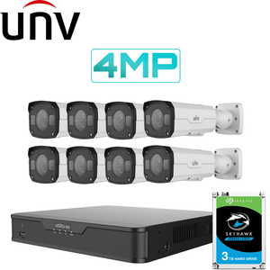 Uniview 8/16 Channel Security System: 8MP NVR, 8 x 4MP Bullet Cameras, 3TB HDD