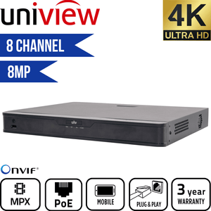 Uniview 8 Channel Network Video Recorder: 8MP (4K) Ultra HD