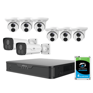Uniview 8 Channel Office Kit: 4K NVR, 6 Turret & 2 Bullet Cameras, 4TB HDD