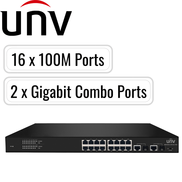 Uniview PoE Switch: 16 PoE Ports, 100Mbps