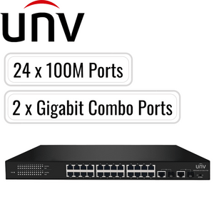Uniview PoE Switch: 24 PoE Ports, 100Mbps