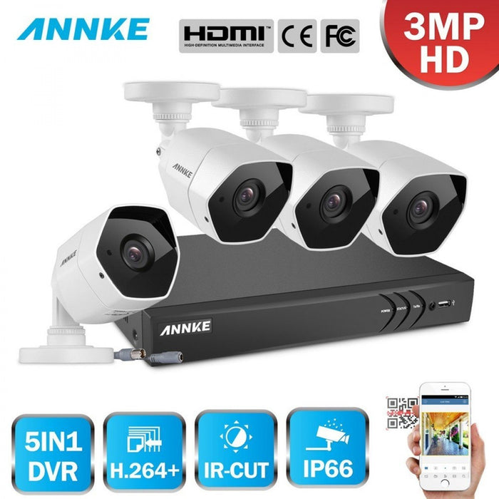 Annke 4 Channel Security System: 1080P HD 5-in-1 DVR, 4 x 3MP Bullet Cameras