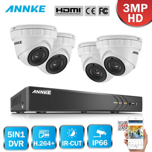 Annke 4 Channel Security System: 1080P HD 5-in-1 DVR, 4 x 3MP Dome Cameras