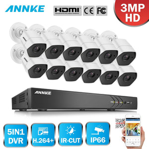 Annke 16 Channel Security System: 1080P HD 5-in-1 DVR, 12 x 3MP Bullet Cameras