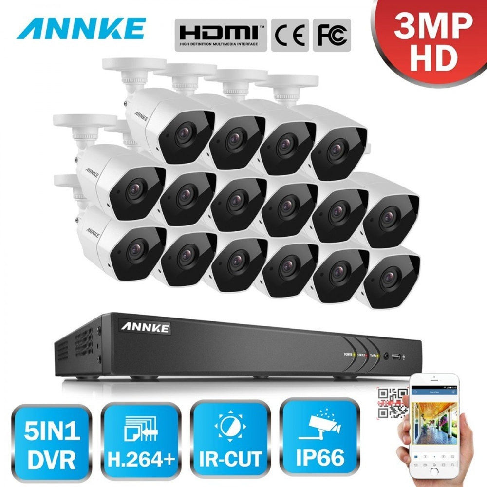 Annke 16 Channel Security System: 1080P HD 5-in-1 DVR, 16 x 3MP Bullet Cameras
