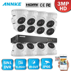 Annke 16 Channel Security System: 1080P HD 5-in-1 DVR, 12 x 3MP Dome Cameras